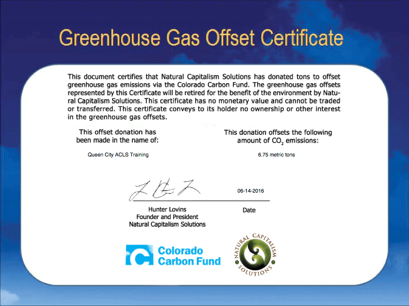 Carbon neutral certificate, QUEEN CITY ACLS